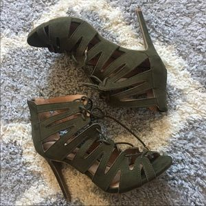 Lace Up Olive Green Heels
